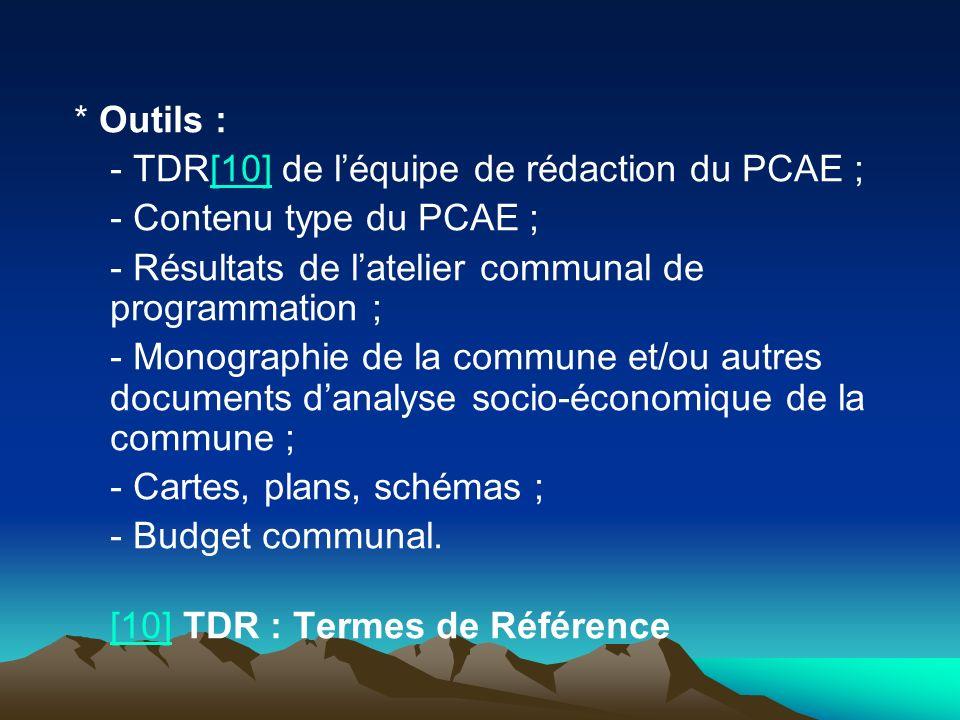 * Outils : - TDR[10] de l'équipe de rédaction du PCAE ; - Contenu type du PCAE ; - Résultats de l'atelier communal de programmation ;